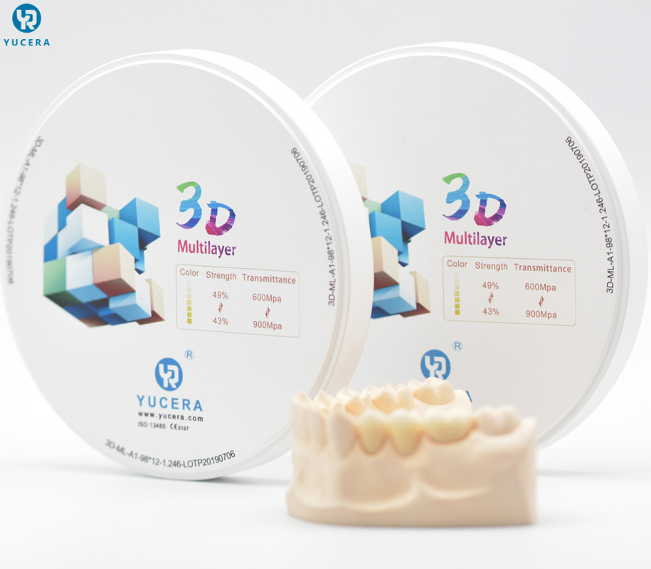 1050 Mpa Multilayer Cad Cam Zirconia Blocks For Zirconia Dental Lab